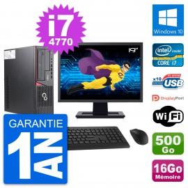 """PC Fujitsu E720 DT Ecran 19"""" Intel i7-4770 RAM 16Go Disque 500Go Windows 10 Wifi"""