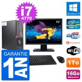 """PC Fujitsu E720 DT Ecran 19"""" Intel i7-4770 RAM 16Go Disque 1To Windows 10 Wifi"""