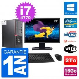 """PC Fujitsu E720 DT Ecran 19"""" Intel i7-4770 RAM 16Go Disque 2To Windows 10 Wifi"""