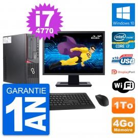 """PC Fujitsu E720 DT Ecran 22"""" Intel i7-4770 RAM 4Go Disque 1To Windows 10 Wifi"""