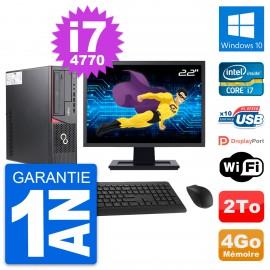 """PC Fujitsu E720 DT Ecran 22"""" Intel i7-4770 RAM 4Go Disque 2To Windows 10 Wifi"""