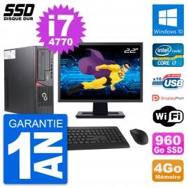 """PC Fujitsu E720 E85+ DT Ecran 22"""" Core i7-4770 RAM 4Go SSD 960Go Windows 10 Wifi"""