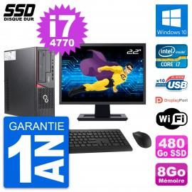 """PC Fujitsu E720 E85+ DT Ecran 22"""" Core i7-4770 RAM 8Go SSD 480Go Windows 10 Wifi"""