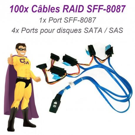 Lot 100 Câbles Nappes SFF-8087 Carte DELL SAS SATA 042N7H Disque dur RAID UCS-71