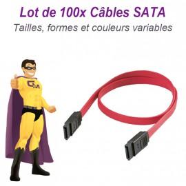 Lot 100 Câbles SATA Data pour Disque Dur et Lecteur Graveur Tailles Variables