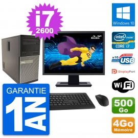 """PC Tour Dell 790 MT Ecran 22"""" Intel i7-2600 RAM 4Go Disque 500Go Windows 10 Wifi"""