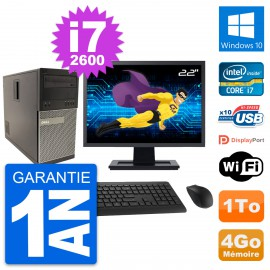 """PC Tour Dell 790 MT Ecran 22"""" Intel i7-2600 RAM 4Go Disque 1To Windows 10 Wifi"""