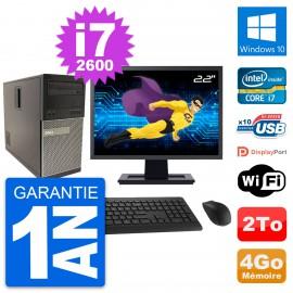 """PC Tour Dell 790 MT Ecran 22"""" Intel i7-2600 RAM 4Go Disque 2To Windows 10 Wifi"""