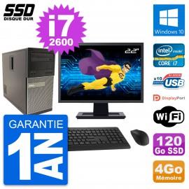 """PC Tour Dell 790 MT Ecran 22"""" Intel i7-2600 RAM 4Go SSD 120Go Windows 10 Wifi"""