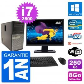 """PC Tour Dell 790 MT Ecran 22"""" Intel i7-2600 RAM 8Go Disque 250Go Windows 10 Wifi"""