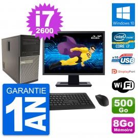 """PC Tour Dell 790 MT Ecran 22"""" Intel i7-2600 RAM 8Go Disque 500Go Windows 10 Wifi"""