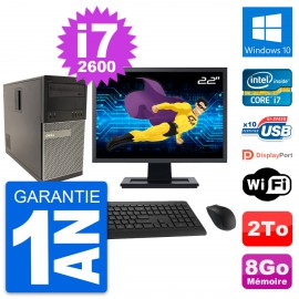 """PC Tour Dell 790 MT Ecran 22"""" Intel i7-2600 RAM 8Go Disque 2To Windows 10 Wifi"""