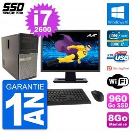 """PC Tour Dell 790 MT Ecran 22"""" Intel i7-2600 RAM 8Go SSD 960Go Windows 10 Wifi"""