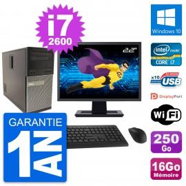 """PC Tour Dell 790 MT Ecran 22"""" Core i7-2600 RAM 16Go Disque 250Go Windows 10 Wifi"""