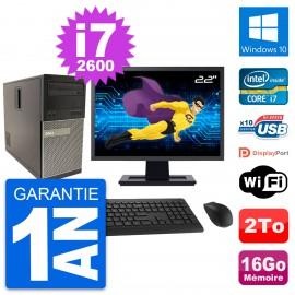 """PC Tour Dell 790 MT Ecran 22"""" Intel i7-2600 RAM 16Go Disque 2To Windows 10 Wifi"""