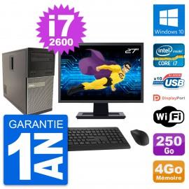"""PC Tour Dell 790 MT Ecran 27"""" Intel i7-2600 RAM 4Go Disque 250Go Windows 10 Wifi"""