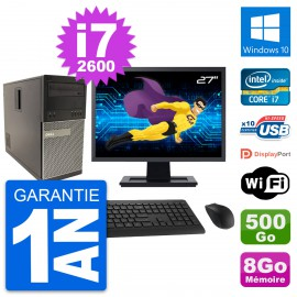"""PC Tour Dell 790 MT Ecran 27"""" Intel i7-2600 RAM 8Go Disque 500Go Windows 10 Wifi"""