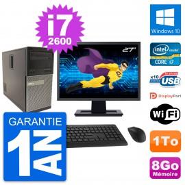 """PC Tour Dell 790 MT Ecran 27"""" Intel i7-2600 RAM 8Go Disque 1To Windows 10 Wifi"""