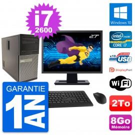 """PC Tour Dell 790 MT Ecran 27"""" Intel i7-2600 RAM 8Go Disque 2To Windows 10 Wifi"""