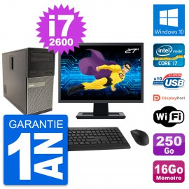 """PC Tour Dell 790 MT Ecran 27"""" Core i7-2600 RAM 16Go Disque 250Go Windows 10 Wifi"""