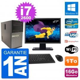 """PC Tour Dell 790 MT Ecran 27"""" Intel i7-2600 RAM 16Go Disque 1To Windows 10 Wifi"""