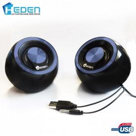 Haut-Parleurs / Enceintes USB Heden SPK170UCB0 5w Bleu PC MAC et Linux