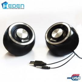 Haut-Parleurs / Enceintes USB Heden SPK170UC90 5w Argent Pour PC MAC et Linux