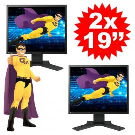 """Lot DUAL SCREEN 2 Ecrans Plats PC 19"""" EIZO S1902 LCD 1280x1024 5:4 VGA DVI-D"""