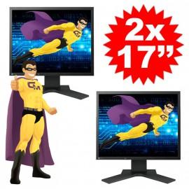 """Lot DUAL SCREEN 2 Ecrans Plats PC 17"""" EIZO S1701 LCD 1280x1024 5:4 VGA DVI-D"""