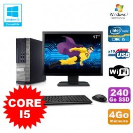 Lot PC DELL Optiplex 790 SFF Intel Core I5 3,1Ghz 4Go 240Go SSD WIFI W7 + Ecran 17