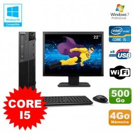 Lot PC Lenovo M91p 7005 SFF Core I5 3,1Ghz 4Go 500Go WIFI W7 Pro + Ecran 22