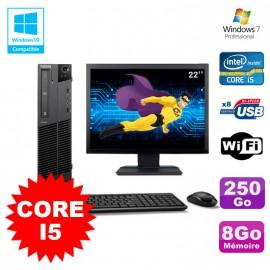 Lot PC Lenovo M91p 7005 SFF Core I5 3,1Ghz 8Go 250Go WIFI W7 Pro + Ecran 22