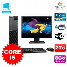 Lot PC Lenovo M91p 7005 SFF Core I5 3,1Ghz 8Go 2To WIFI W7 Pro + Ecran 22