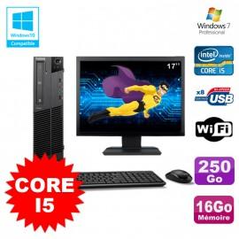 Lot PC Lenovo M91p 7005 SFF Core I5 3,1Ghz 16Go 250Go WIFI W7 Pro + Ecran 17