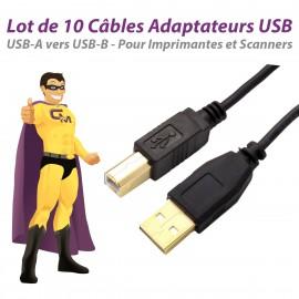 Lot x10 Câbles USB 2.0 USB-A USB-B 1.80m Imprimante Scanner 453030300170R05 NEUF