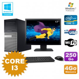 Lot PC Tour Dell 790 Intel Core I3 3.1Ghz 4Go 250Go DVD WIFI Win 7 + Ecran 17""