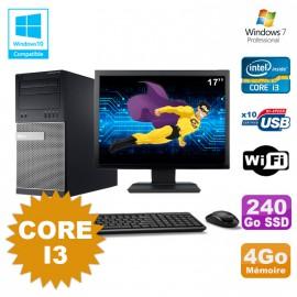 """Lot PC Tour Dell 790 Core I3 3.1Ghz 4Go 240Go SSD DVD WIFI Win 7 + Ecran 17"""""""