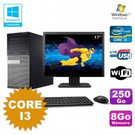"""Lot PC Tour Dell 790 Intel Core I3 3.1Ghz 8Go 250Go DVD WIFI Win 7 + Ecran 17"""""""