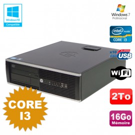 PC HP Compaq 6200 Pro SFF Core i3 3.1GHz 16Go Disque 2To DVD WIFI W7 Pro