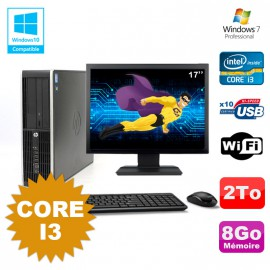 Lot PC HP Compaq 6200 Pro SFF Core i3 3.1GHz 8Go 2To DVD WIFI W7 + Ecran 17