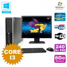 Lot PC HP Compaq 6200 Pro SFF Core i3 3.1GHz 8Go 240Go SSD DVD WIFI W7 + Ecran 19