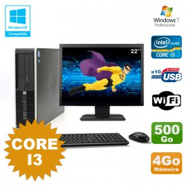 Lot PC HP Compaq 6200 Pro SFF Core i3 3.1GHz 4Go 500Go DVD WIFI W7 + Ecran 22