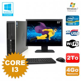 Lot PC HP Compaq 6200 Pro SFF Core i3 3.1GHz 4Go 2To DVD WIFI W7 + Ecran 22