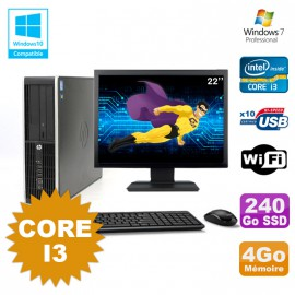 Lot PC HP Compaq 6200 Pro SFF Core i3 3.1GHz 4Go 240Go SSD DVD WIFI W7 + Ecran 22