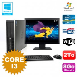 Lot PC HP Compaq 6200 Pro SFF Core i3 3.1GHz 8Go 2To DVD WIFI W7 + Ecran 22