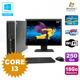 Lot PC HP Compaq 6200 Pro SFF Core i3 3.1GHz 16Go 250Go DVD WIFI W7 + Ecran 22