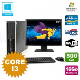 Lot PC HP Compaq 6200 Pro SFF Core i3 3.1GHz 16Go 500Go DVD WIFI W7 + Ecran 22