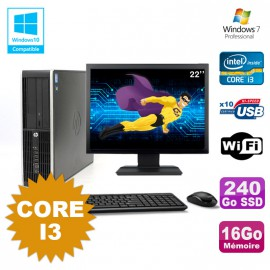 Lot PC HP Compaq 6200 Pro SFF Core i3 3.1GHz 16Go 240Go SSD DVD WIFI W7 + Ecran 22
