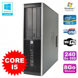 PC HP Elite 8200 SFF Intel Core I5 3.1GHz 8Go Disque 240Go SSD DVD WIFI W7