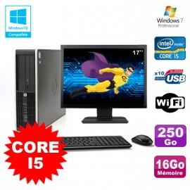 "Lot PC HP Elite 8200 SFF Core I5 3.1GHz 16Go 250Go DVD WIFI W7 + Ecran 17"""